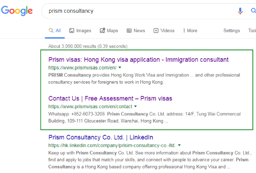 Google Number One Position: Prism
